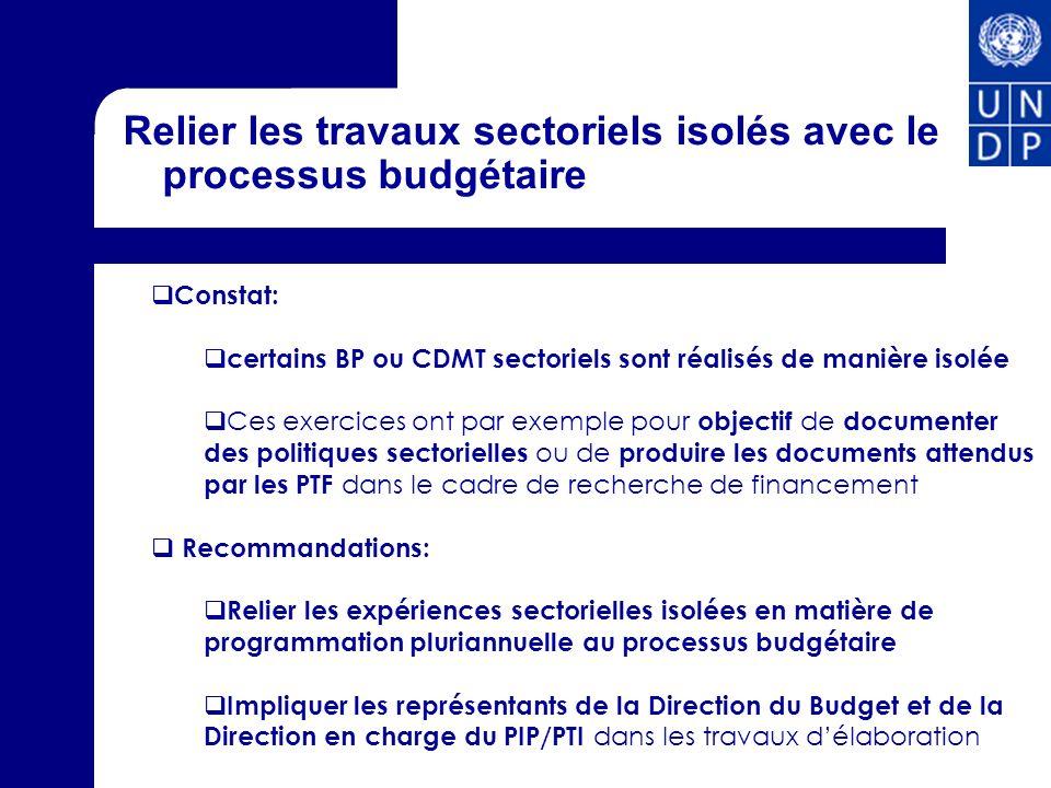 Relier les travaux sectoriels isolés avec le processus budgétaire
