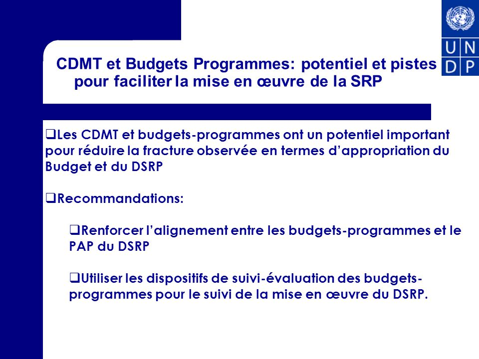 CDMT et Budgets Programmes: potentiel et pistes pour faciliter la mise en œuvre de la SRP