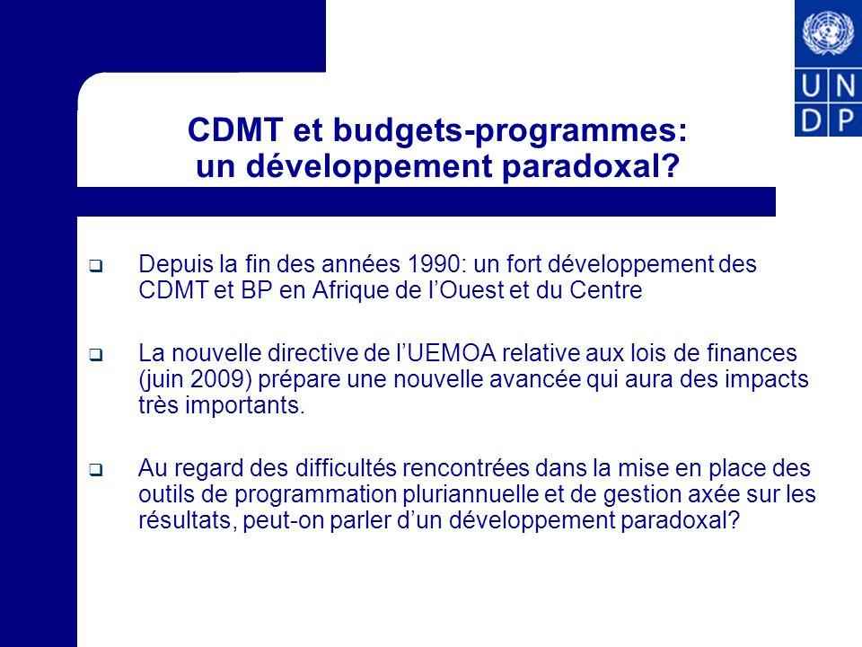CDMT et budgets-programmes: un développement paradoxal
