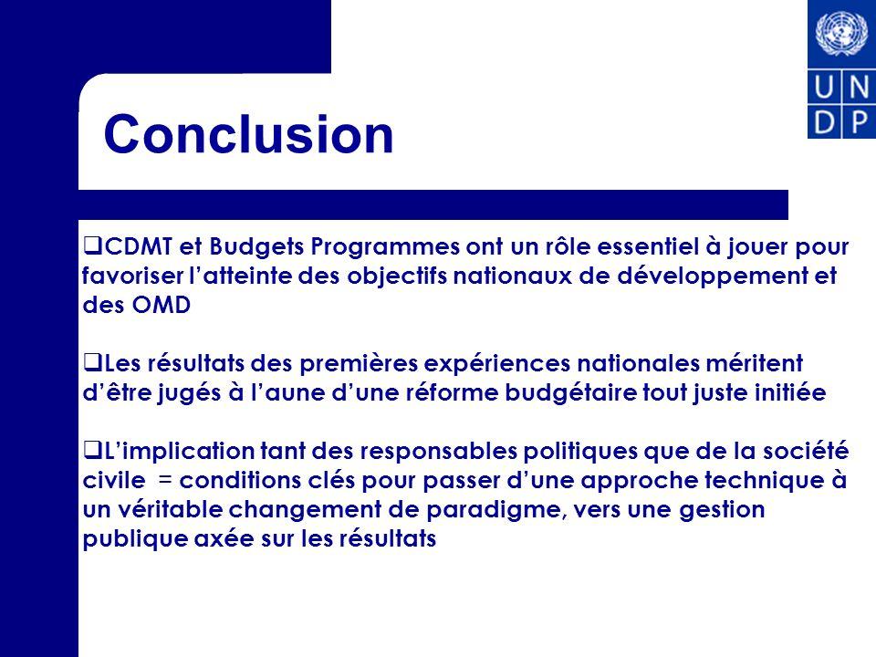 Conclusion CDMT et Budgets Programmes ont un rôle essentiel à jouer pour favoriser l'atteinte des objectifs nationaux de développement et des OMD.