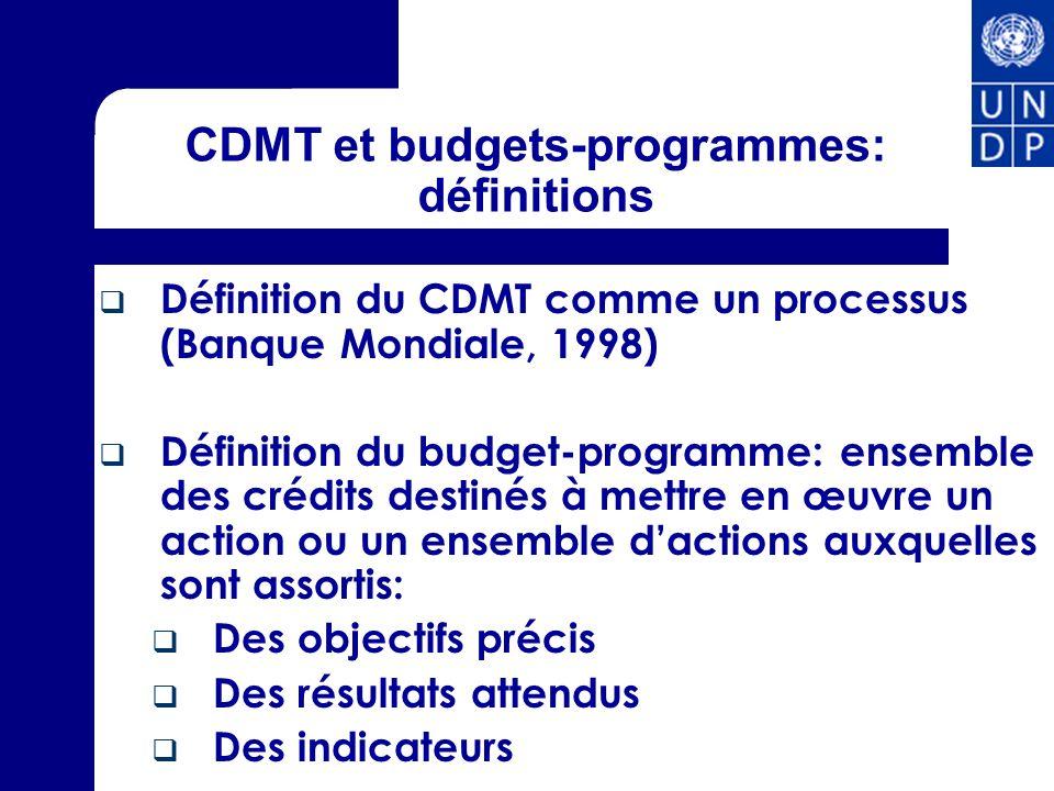 CDMT et budgets-programmes: définitions