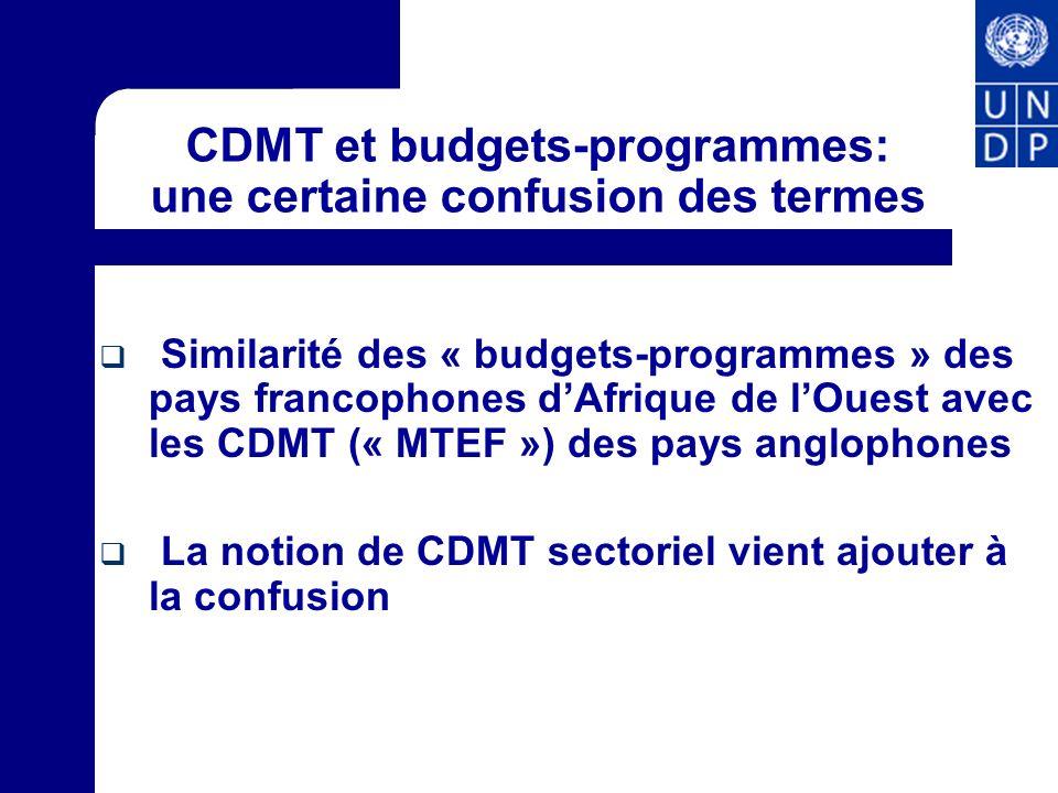 CDMT et budgets-programmes: une certaine confusion des termes