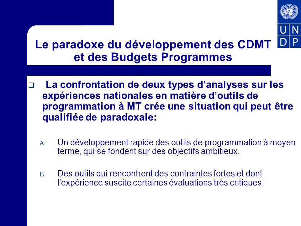 Le paradoxe du développement des CDMT et des Budgets Programmes