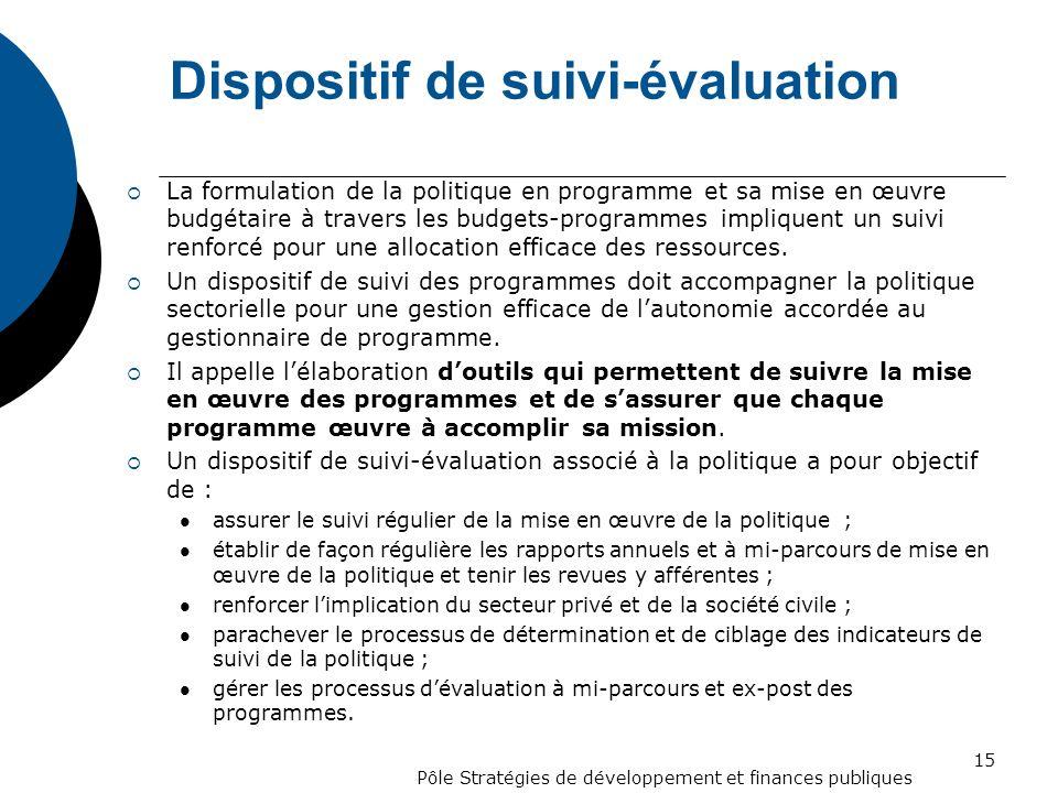 Dispositif de suivi-évaluation