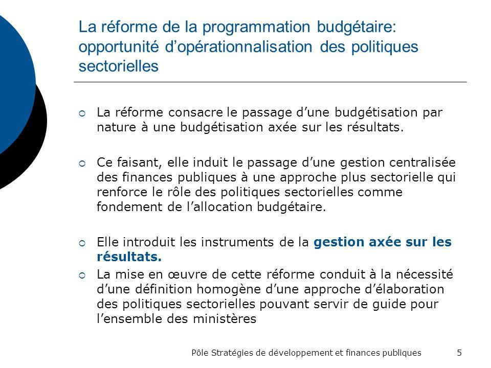 Pôle Stratégies de développement et finances publiques