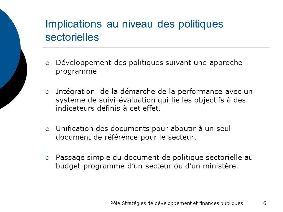 Implications au niveau des politiques sectorielles
