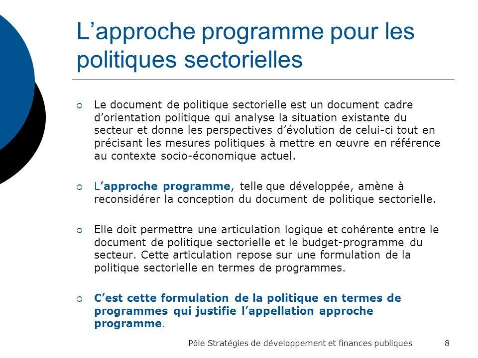 L'approche programme pour les politiques sectorielles