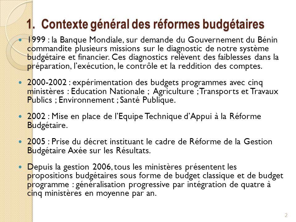 1. Contexte général des réformes budgétaires