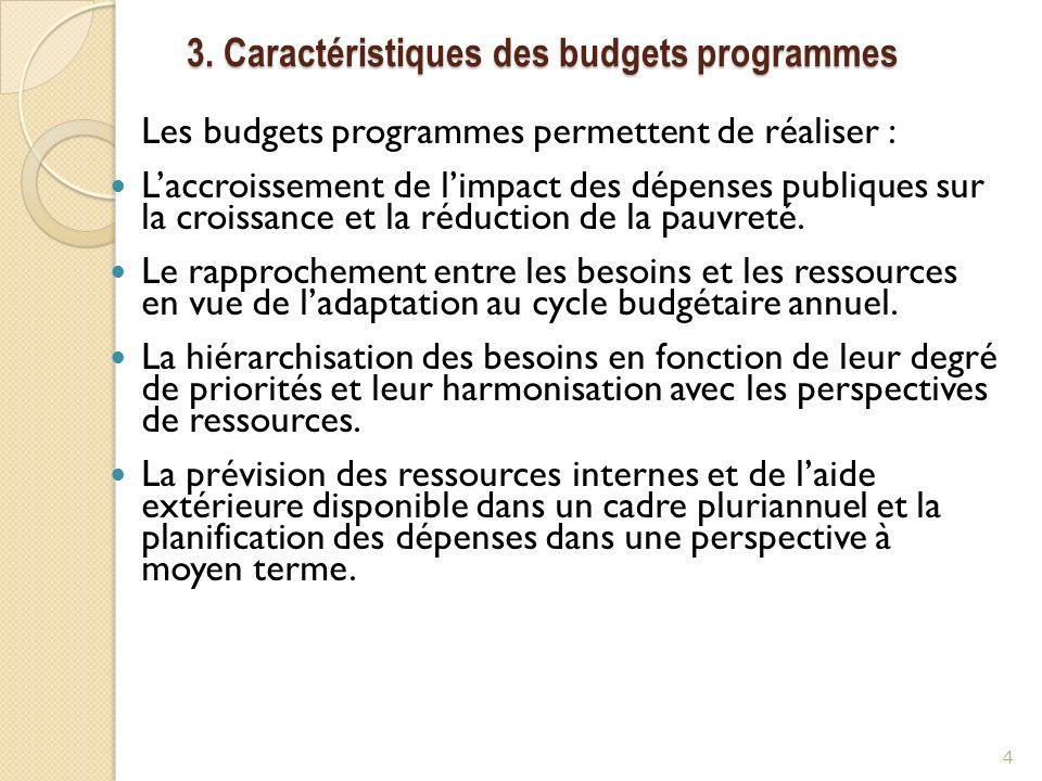 3. Caractéristiques des budgets programmes