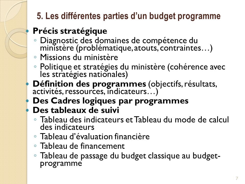 5. Les différentes parties d'un budget programme
