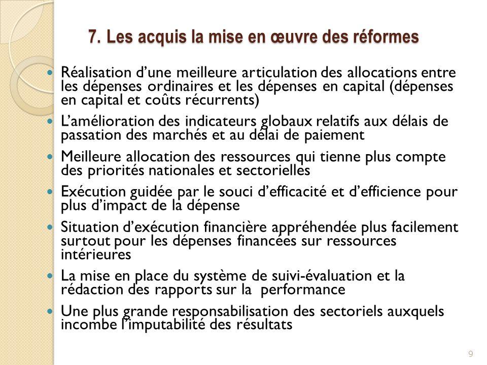 7. Les acquis la mise en œuvre des réformes