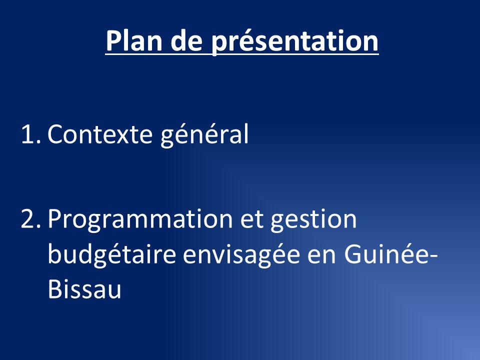 Plan de présentation Contexte général
