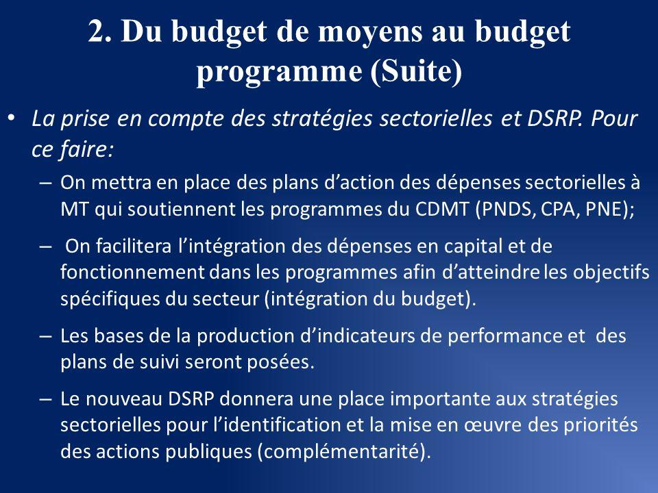 2. Du budget de moyens au budget programme (Suite)
