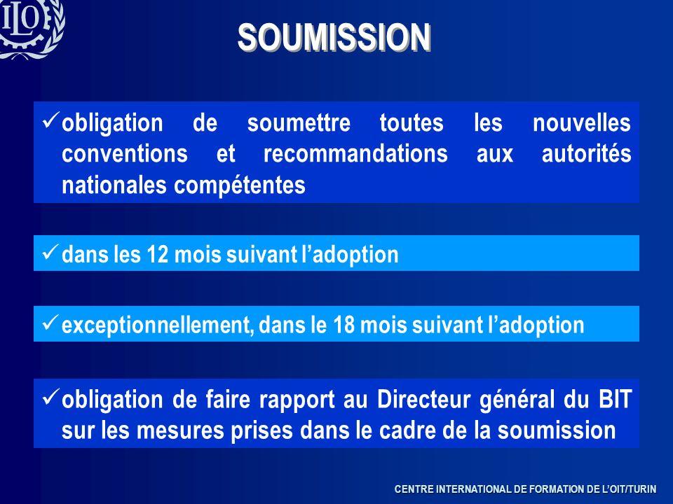 SOUMISSION obligation de soumettre toutes les nouvelles conventions et recommandations aux autorités nationales compétentes.