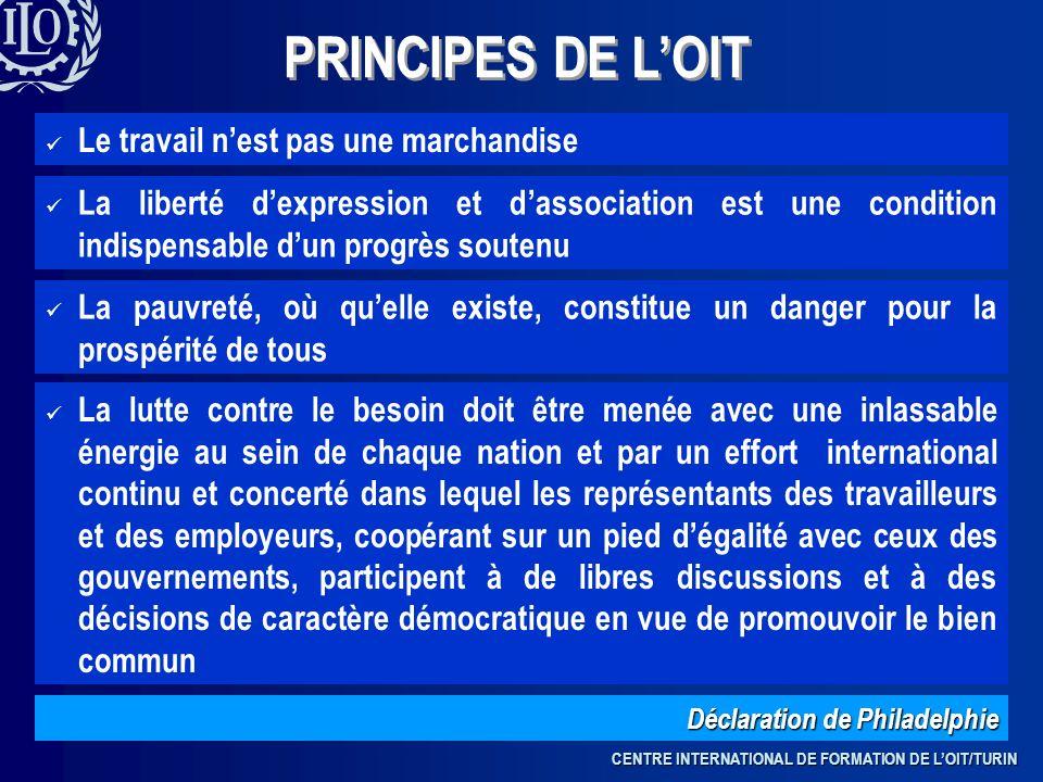 PRINCIPES DE L'OIT Le travail n'est pas une marchandise