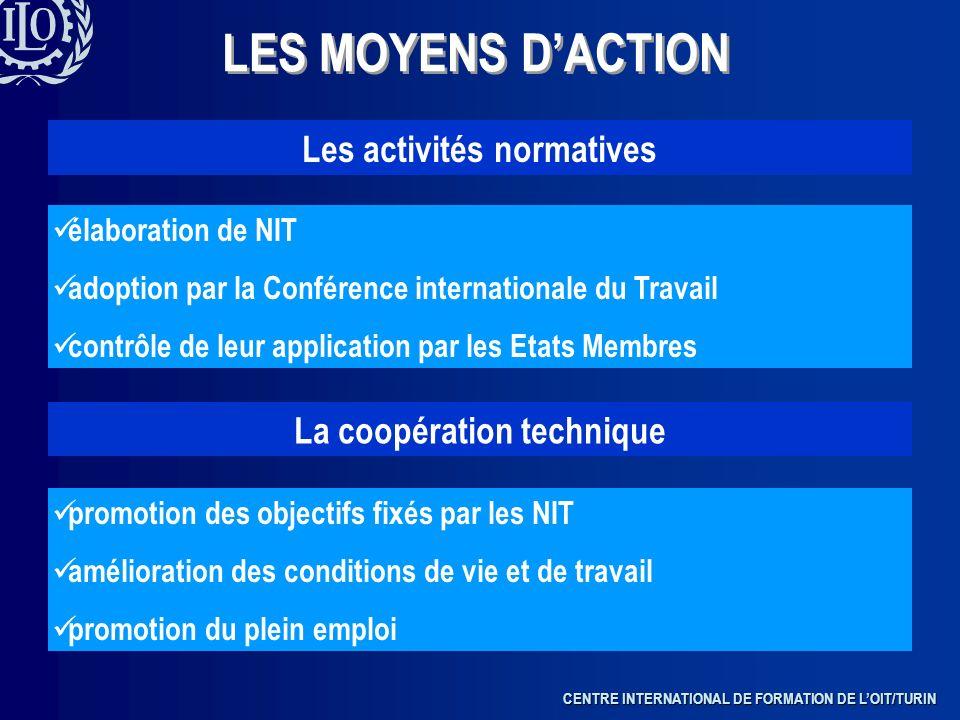 Les activités normatives La coopération technique