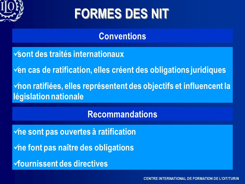 FORMES DES NIT Conventions Recommandations