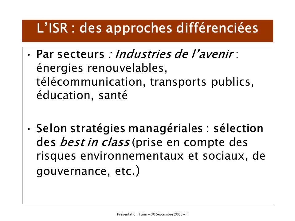 L'ISR : des approches différenciées