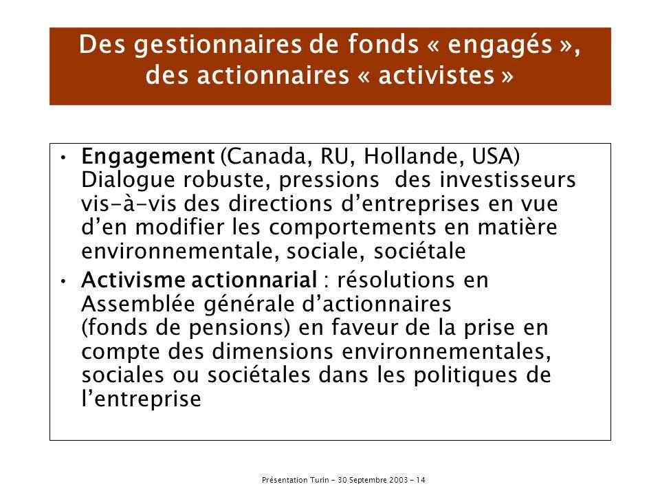Des gestionnaires de fonds « engagés », des actionnaires « activistes »