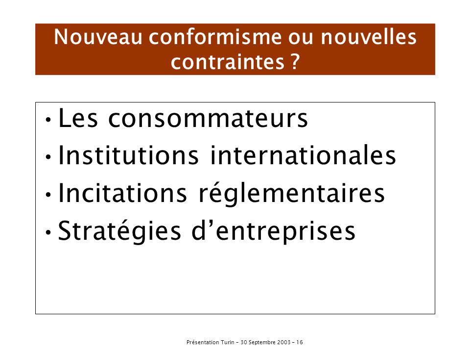 Nouveau conformisme ou nouvelles contraintes