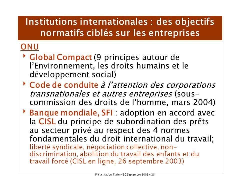 Institutions internationales : des objectifs normatifs ciblés sur les entreprises