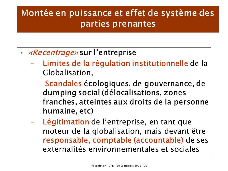Montée en puissance et effet de système des parties prenantes