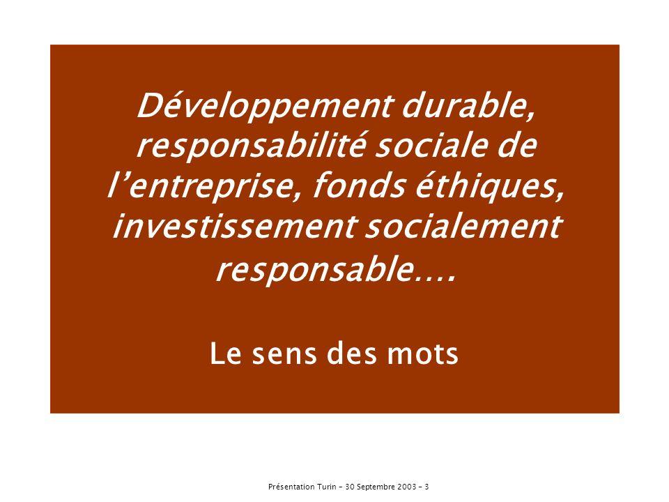 Développement durable, responsabilité sociale de l'entreprise, fonds éthiques, investissement socialement responsable….