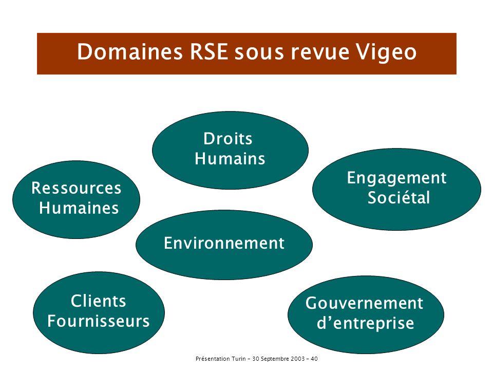 Domaines RSE sous revue Vigeo
