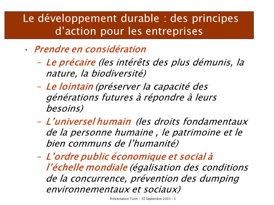 Le développement durable : des principes d'action pour les entreprises
