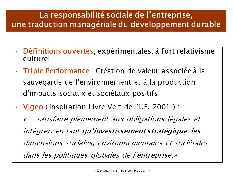 La responsabilité sociale de l'entreprise, une traduction managériale du développement durable