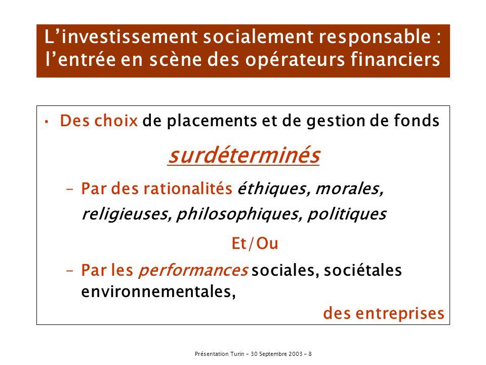 L'investissement socialement responsable : l'entrée en scène des opérateurs financiers