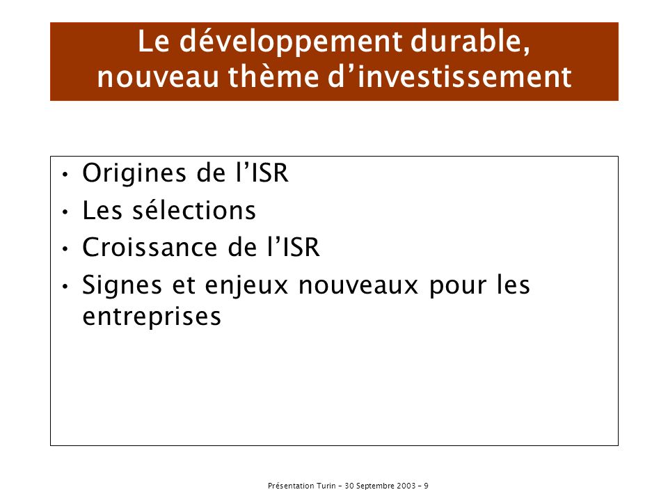 Le développement durable, nouveau thème d'investissement