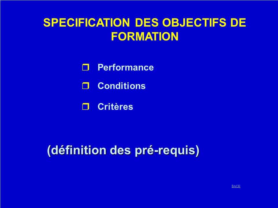 SPECIFICATION DES OBJECTIFS DE FORMATION