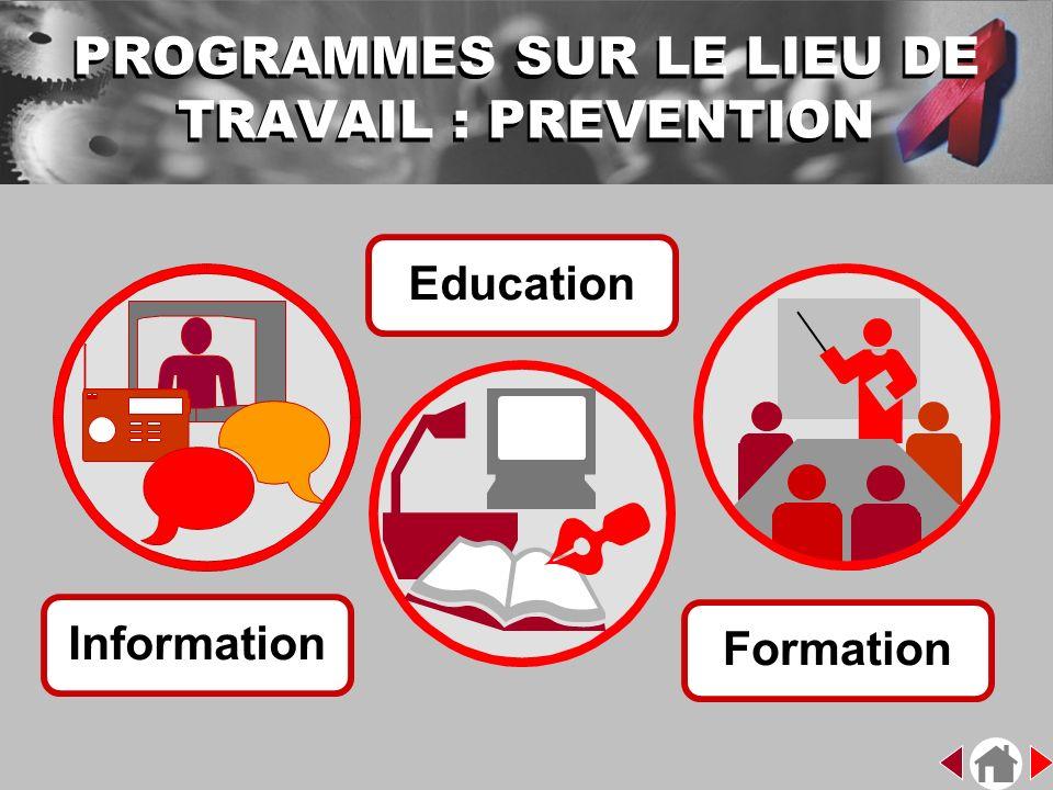 PROGRAMMES SUR LE LIEU DE TRAVAIL : PREVENTION