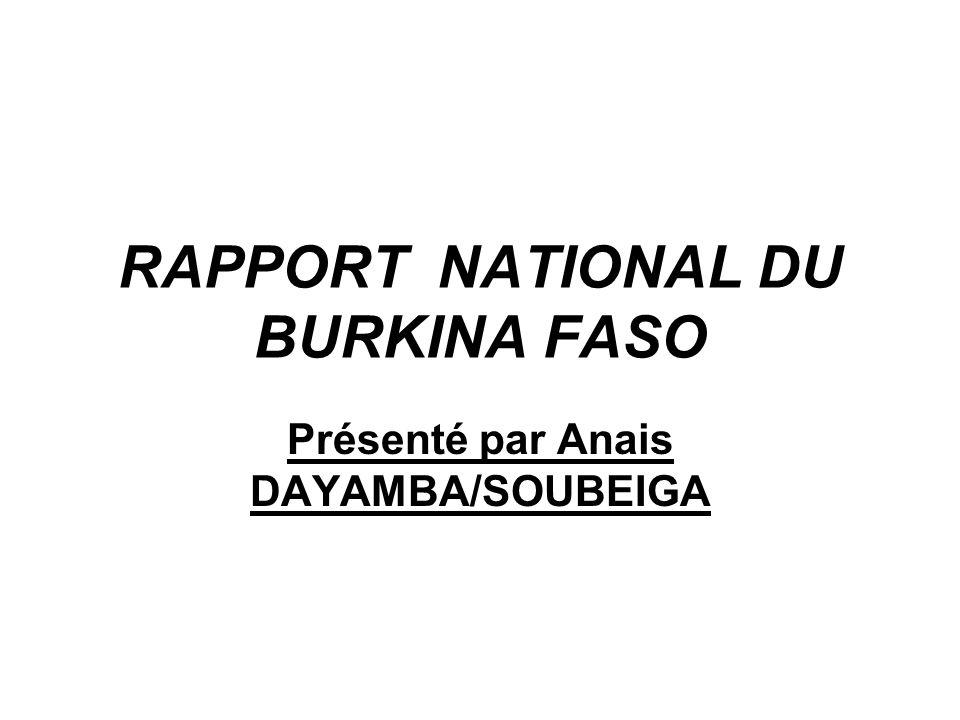 RAPPORT NATIONAL DU BURKINA FASO
