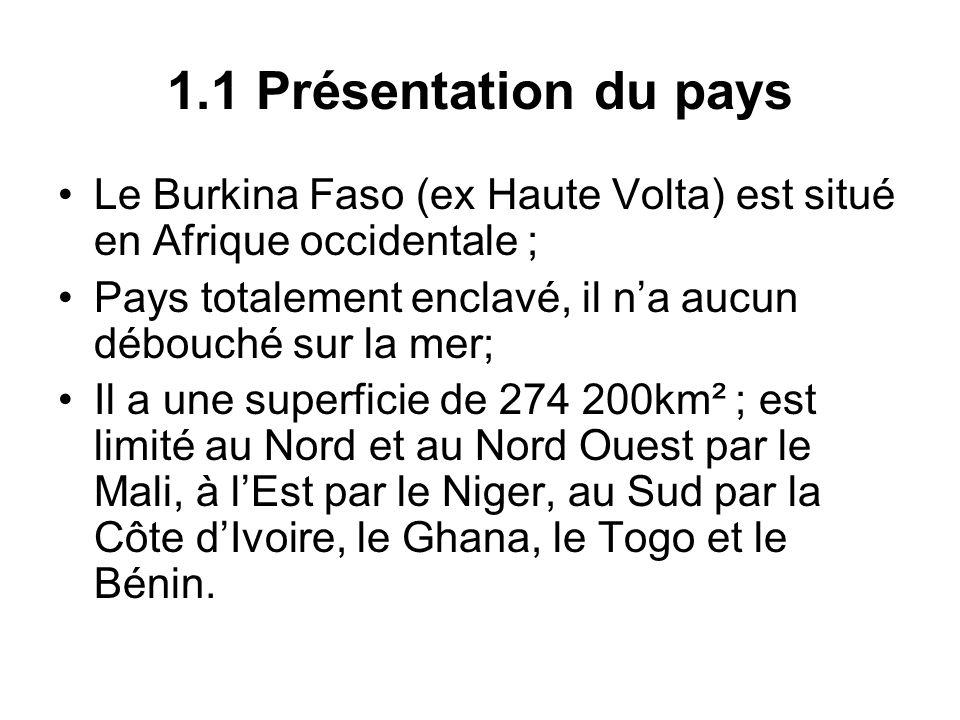 1.1 Présentation du paysLe Burkina Faso (ex Haute Volta) est situé en Afrique occidentale ;