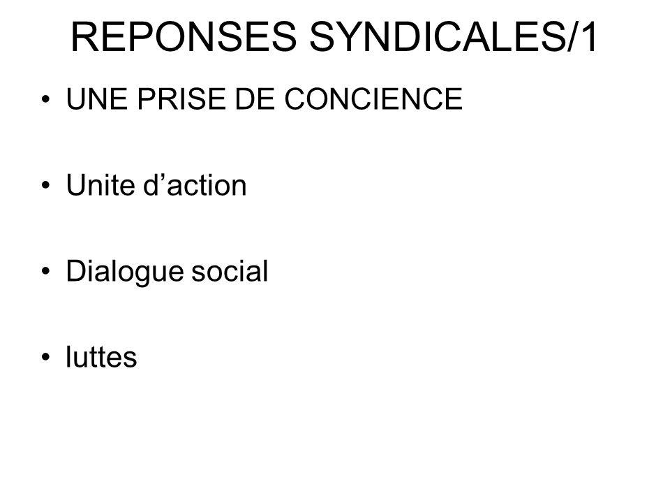 REPONSES SYNDICALES/1 UNE PRISE DE CONCIENCE Unite d'action