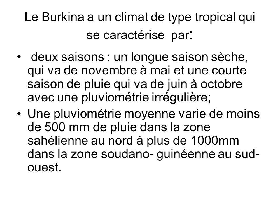 Le Burkina a un climat de type tropical qui se caractérise par:
