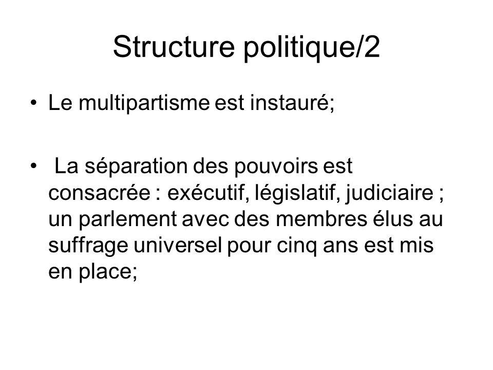 Structure politique/2 Le multipartisme est instauré;