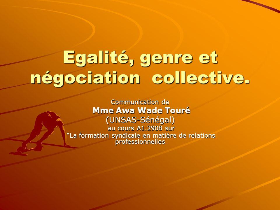 Egalité, genre et négociation collective.
