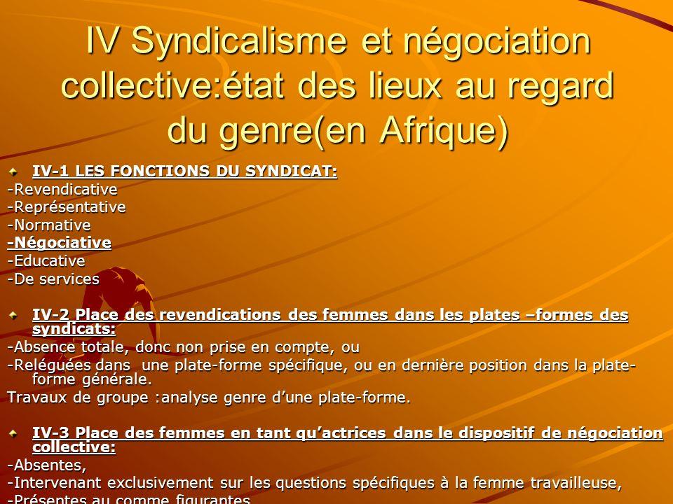 IV Syndicalisme et négociation collective:état des lieux au regard du genre(en Afrique)