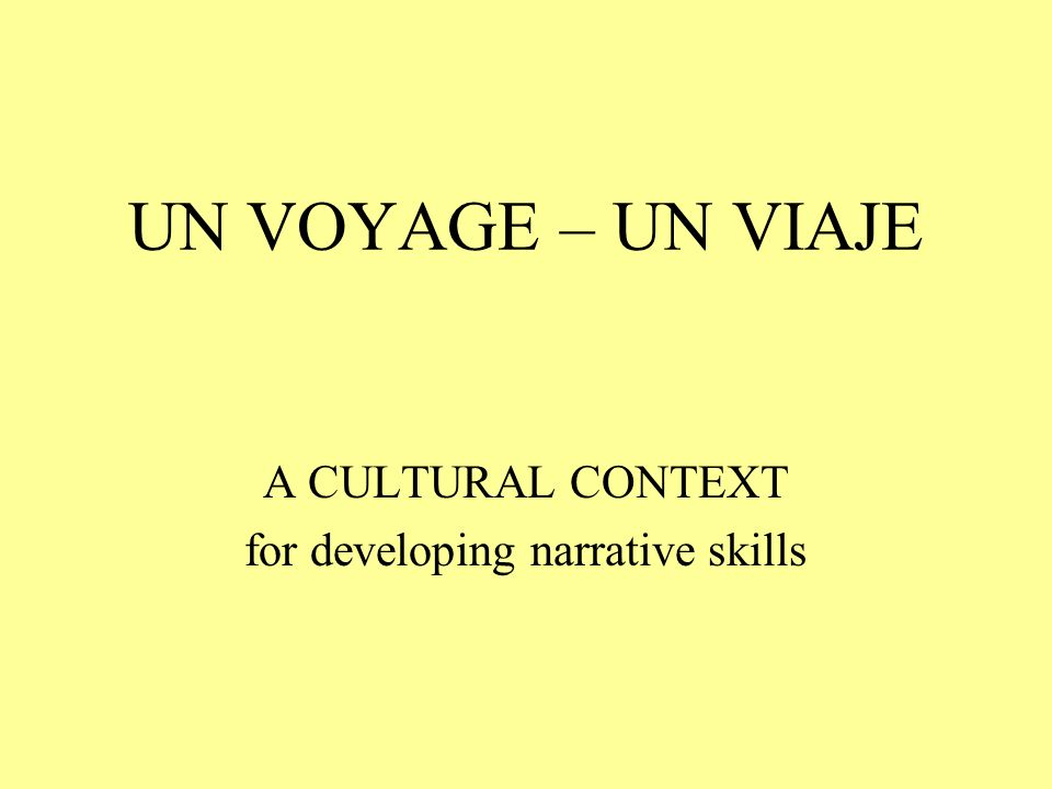 A CULTURAL CONTEXT for developing narrative skills