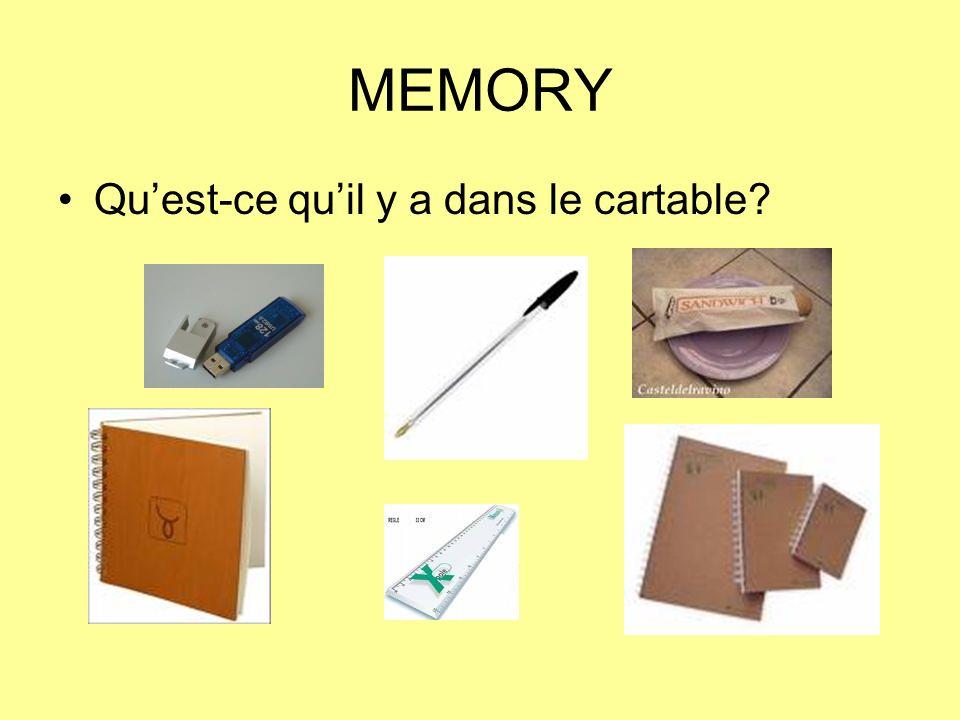 MEMORY Qu'est-ce qu'il y a dans le cartable