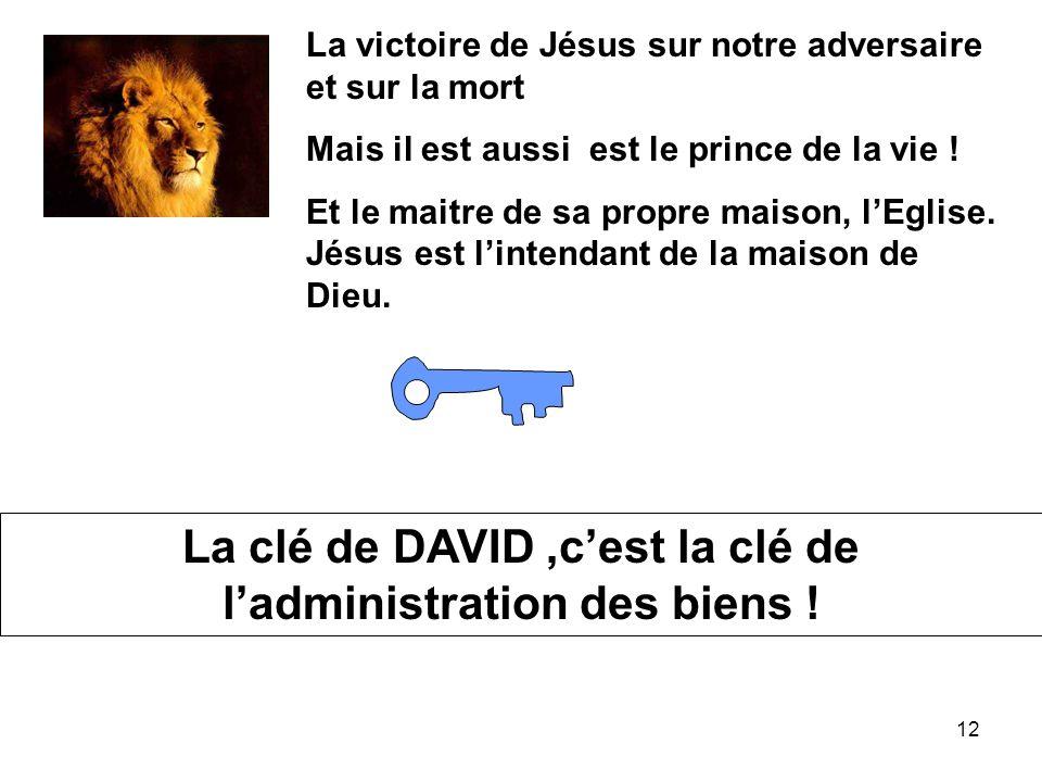 La clé de DAVID ,c'est la clé de l'administration des biens !