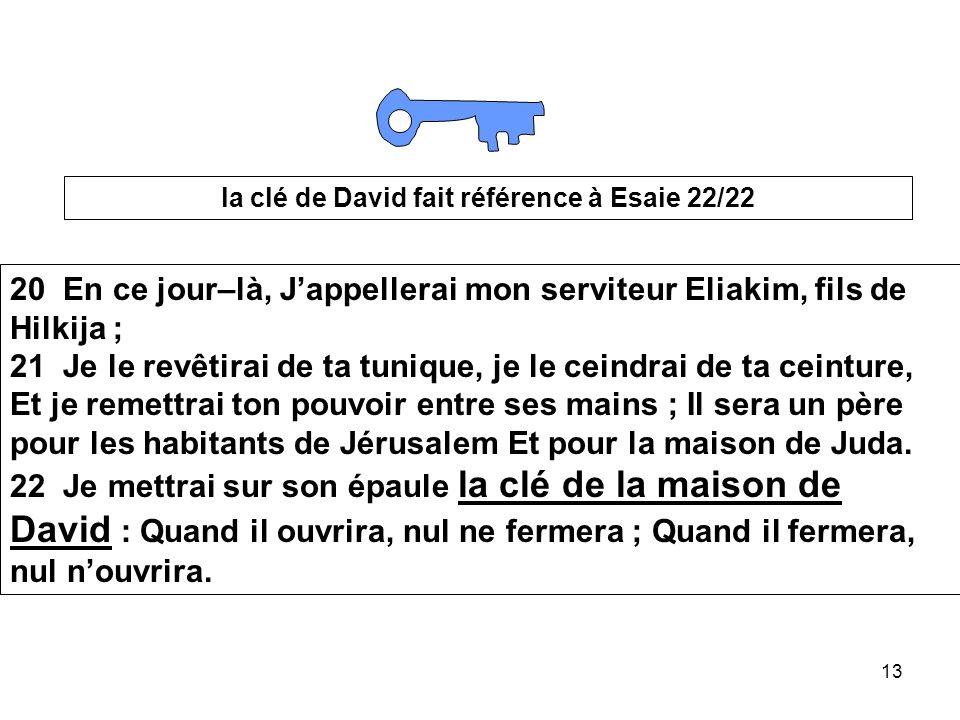 la clé de David fait référence à Esaie 22/22