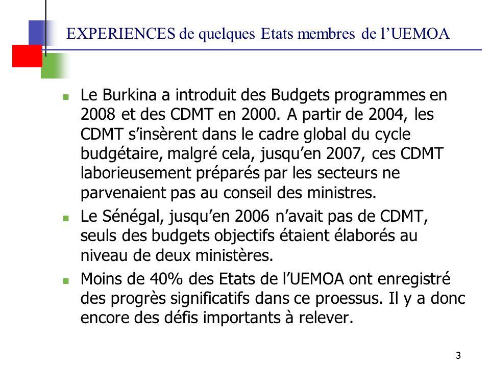 EXPERIENCES de quelques Etats membres de l'UEMOA