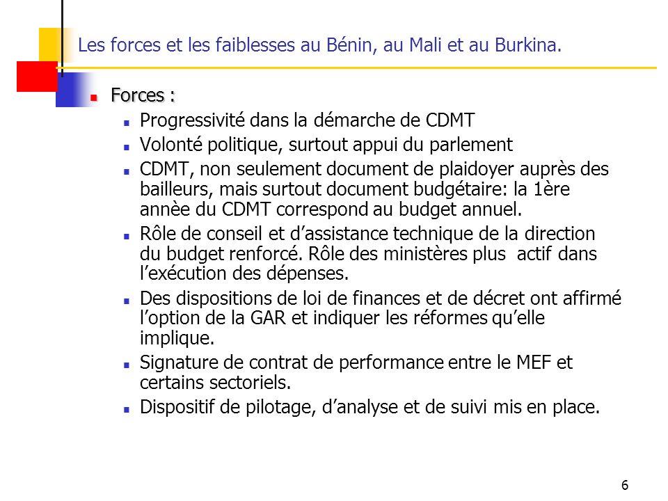 Les forces et les faiblesses au Bénin, au Mali et au Burkina.
