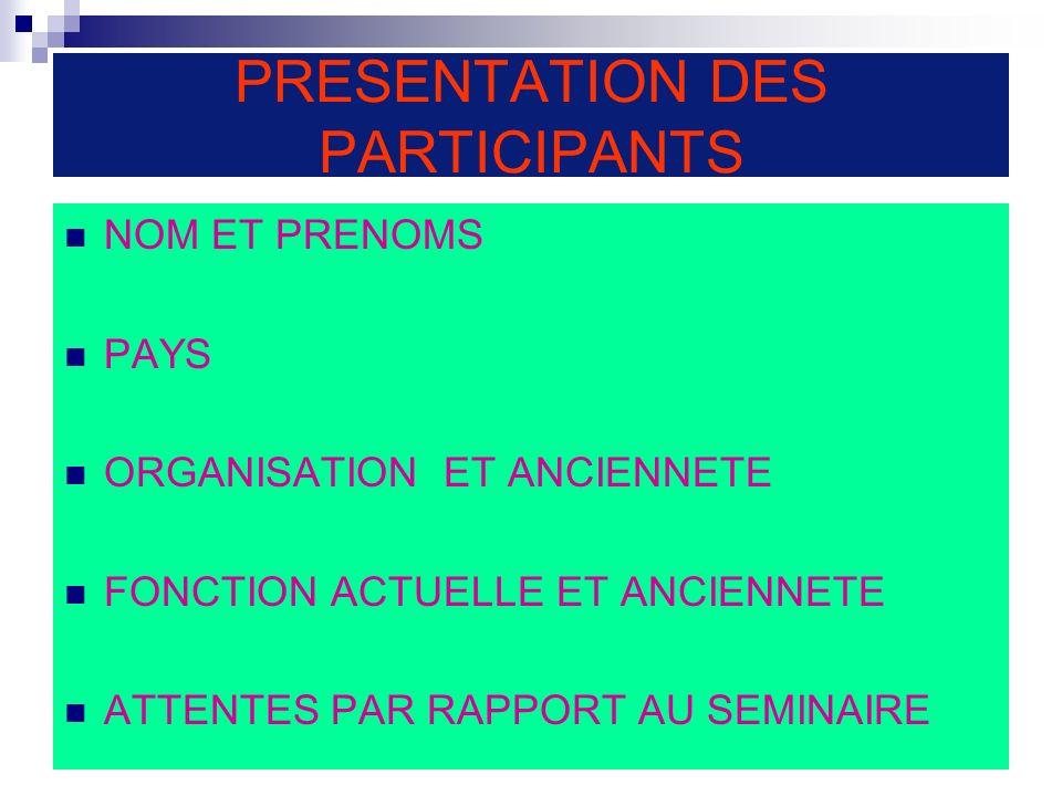 PRESENTATION DES PARTICIPANTS