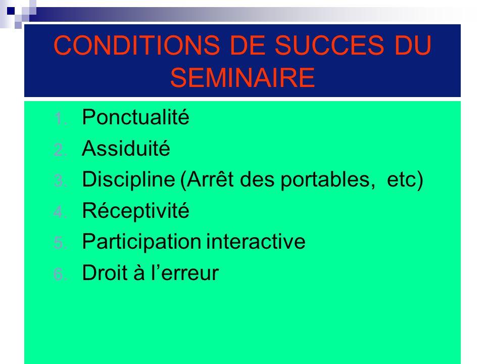 CONDITIONS DE SUCCES DU SEMINAIRE