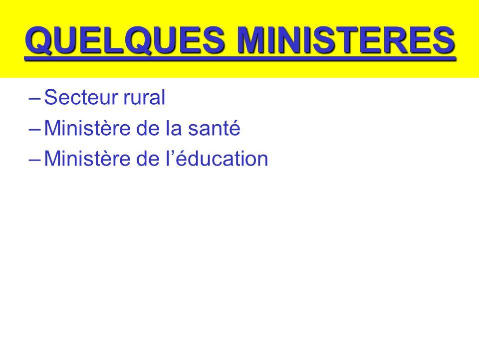 QUELQUES MINISTERES Secteur rural Ministère de la santé